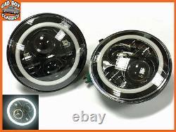 7 Pair LED Halo DRL Headlamp Headlights Upgrade Bright White Hi / Lo DEFENDER