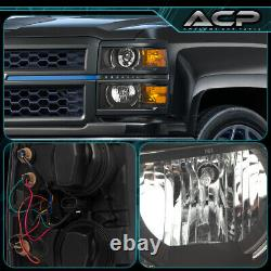 Black Amber DRL LED Projector Head Lights Lamps For 14-15 Chevy Silverado 1500