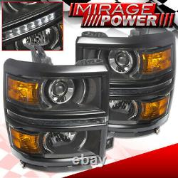 Black Amber DRL LED Projector Head Lights Signal Lamps For 14-15 Chevy Silverado