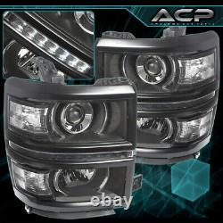 Black Clear DRL LED Projector Head Lights Lamps For 14-15 Chevy Silverado 1500