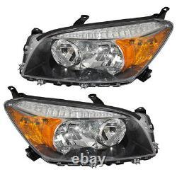 Fits Toyota RAV4 06-08 Set of Headlamps Headlight Units with Black Bezels