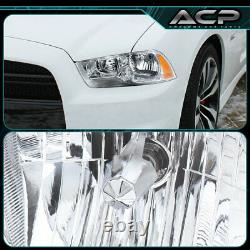 For 11-14 Charger Front Headlights Chrome Housing Clear Lens Amber Reflector