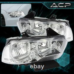 For 11-14 Dodge Charger Front Headlights Chrome Housing Clear Reflector Lens