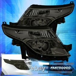 For 11-15 Ford Explorer Smoke Headlights Clear Corner Projector Headlamps LH RH