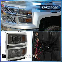 For 14-15 Chevy Silverado 1500 Smoked Amber Projector LED DRL Headlights Lamps