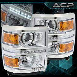 For 14-15 Silverado Chrome Head Lamps Amber Turn Signal Projector LED Strip DRL