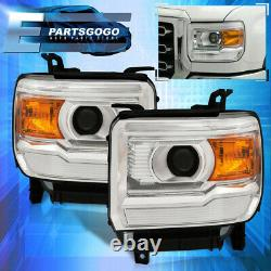 For 14-18 GMC Sierra 1500 / 15-19 2500HD Chrome Amber Projector Headlights Lamps