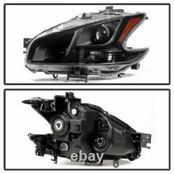 For 2009-2014 Nissan Maxima Black Housing HeadLights HeadLamps Right+Left set