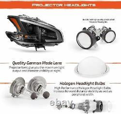 For 2009-2014 Nissan Maxima Black LED DRL TUBE HeadLights HeadLamps Right Left