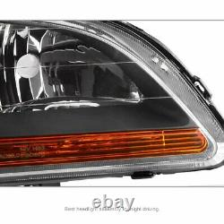 For 98-02 Honda Accord Lx Ex Pair Front Black Headlights With Amber