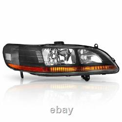 For 98-02 Honda Accord Lx Ex Pair Front Black Headlights With Amber Reflector