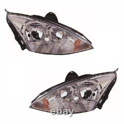 For Ford Focus Mk1 2001-2004 Headlights Headlamps Chrome 1 Pair O/S And N/S
