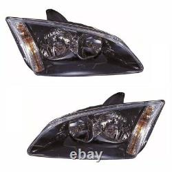 For Ford Focus Mk2 2005-5/2008 Headlights Headlamps Black 1 Pair O/S & N/S