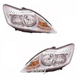 For Ford Focus Mk2 3/2008-6/2011 Headlights Headlamps Chrome 1 Pair O/S & N/S