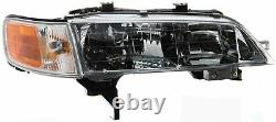 For Honda Accord 1994-1997 HeadLights HeadLamps Chrome+Amber Corner Right+Left