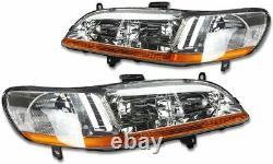 For Honda Accord 1998-2002 HeadLights Pair Set LH+RH Chrome/Clear Color