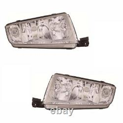 For Skoda Fabia Mk1 2000-2004 Headlights Headlamps Chrome 1 Pair O/S & N/S