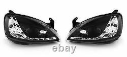 For Vauxhall Corsa C 2000-2006 Black LED DRL Projector Headlights Headlamps