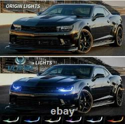 VLAND Headlights For 2014 2015 Camaro Dual Beam Projector LED RGB DRL Sequential