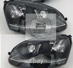 Vw Golf MK5 Headlights Headlamps Black 2004 2008 Pair Right Left MOT certificate