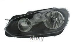 Vw Golf Mk6 2009-2012 Black Headlight Headlamp Near Side Passenger Side